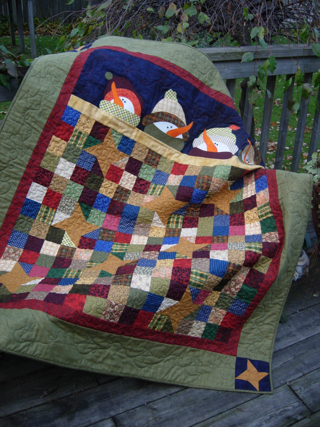 Under The Stars Snowman Christmas Quilt Wall Hanging