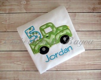 Personalized Appliqued Truck Birthday T-shirt for Boys