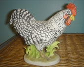 Vintage Lefton Black and White Chicken Rooster or Hen