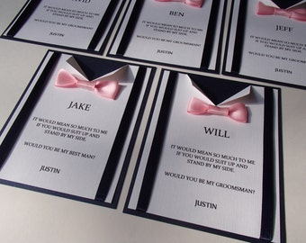 Suspender and Bow Tie card for wedding- Will You Be My Best Man, Groomsman Card- Usher-Ring Bearer- custom colors