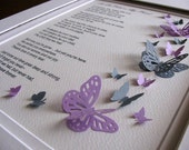 Child in My Heart 3D Memorial Butterfly Word Art. Sample Shows Purple & Gray or CHOOSE Your Preferred 2 Colours. 8x10. Made to Order
