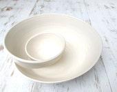 Handmade Swirling Chip n Dip // Pottery Bowl in Glossy White