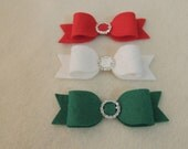 3 Large Wool Felt Bows with Rhinestone (Christmas )