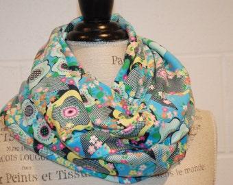Aqua Blue Cotton Jersey Infinity Scarf - Floral Fabric -Modern Fashion Accessory - Ladies Teens Tweens