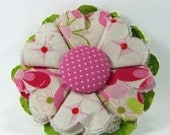 Fabric Flower Pin, Fabric Flower Brooch, raw edge flower, pink, green, off-white - FP06
