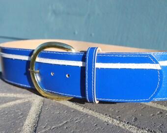 Vintage Retro Bright Blue Wide Belt Funky 70's Belt