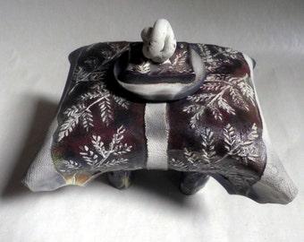 "handmade Ceramic ""Pillow Box"", RAKU fired"