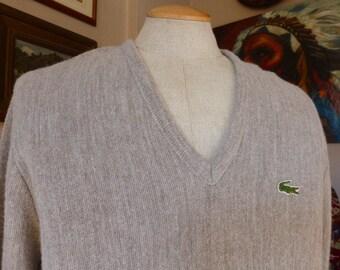 IZOD Lacoste V-neck Pullover Sweater Mens SZ M  Greige