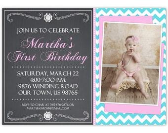 First Birthday Invitation, Custom 1st Birthday Invite, Girl's Polka Dot Chalkboard 1st Birthday Invite, 1st Birthday card, digital design