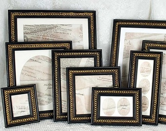 5x7 or 5x6 inch  Black & Gold Boules Photo Frame in Shabby Cottage Antique Style/Black and White Photos/Office Desktop Photos 5x7 or 5x6