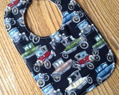 Antique Cars on Black, Gray and Tan Chevron Flannel on Reverse Side Triple Layer, Snap Closure
