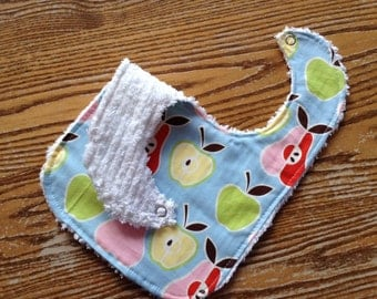 Chenille Backed Baby Bib, Snap Closure, Juicy Fruit