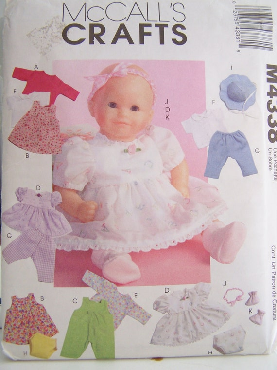 McCall's Crafts M4338 Sewing Pattern - Baby Doll Clothes, Doll Wardrobe, Doll Outfits, Jacket, Jumper, Romper, Dress Pants, Hat, Booties