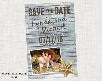 Starfish Save the Date Postcard -  Beach Tropical Destination Wedding
