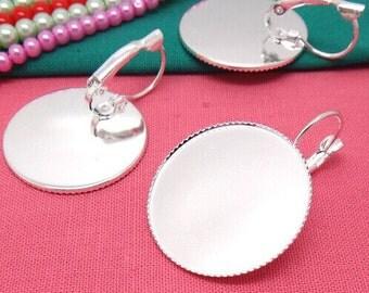 Earring Base 10pcs Bright Silver Cabochon Earring Setting 25mm Pad L05700-1 --20% OFF