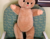 Antique Teddy Bear Large Tan Stuffed Mohair Toy Bear Jointed Arms Legs Neck Straw Wood Filled