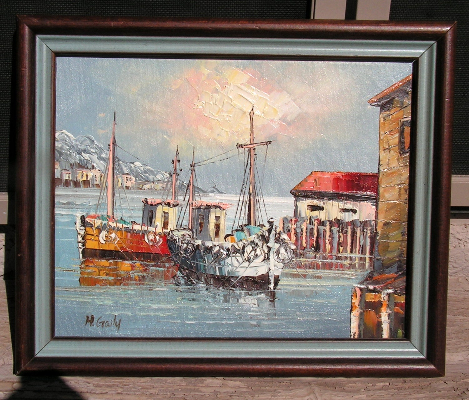 Original oil painting ships sea port impressionist framed wall for Wall art for sale