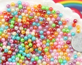 4mm AB Super Tiny Shiny Iridescent Pearly Plastic or Acrylic Beads - Great as Spacer Beads - 1000 pc set