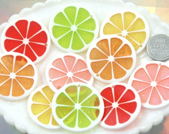 Orange Charms - 35mm Colorful Citrus Fruit Resin Charm - 5 pc set