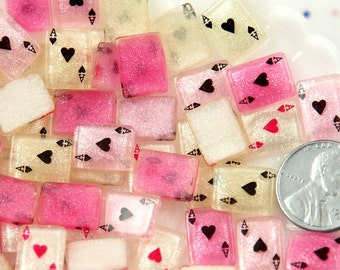 Cards Cabochons - 12mm Little Shimmer Playing Cards Glitter Ace Card Flatback Acrylic or Resin Cabochons - 12 pcs set