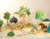 Wooden Dinosaurs Gift Set - Monster set at 17 pieces... huge sizes  6-15 inches