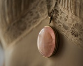 Solid Perfume Locket Necklace with Natural Stone lid: Rose Quartz, Black Onyx, or Green Aventurine