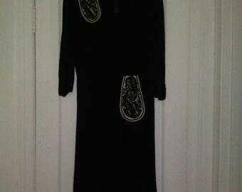 Stunning 1940s 1930s Swing Dancing Day Dress Black White Rayon Old Hollywood Glamour Medium Large
