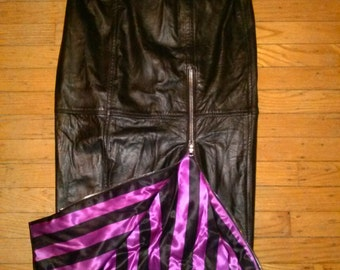 Rock and Roll Rockabilly Pin-Up Punk Steampunk Goth1980's does 1950's Black Leather Pencil Skirt with Pink and Black Striped Satin Lining
