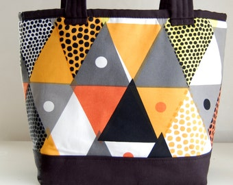 Triangles Print Fabric Tote Bag - READY TO SHIP