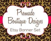 Cheetah Print - Leopard Print - Animal Print Premade Etsy Banner Set - Etsy Shop Banner Set - Etsy Banner Set - Premade Etsy Kit - 216591016