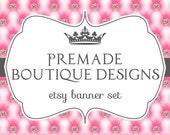Tufted Bling Rhinestone Princess Shabby Chic Premade Etsy Banner Set - Etsy Shop Banner Set - Etsy Banner Set - Premade Etsy Kit - 216604239