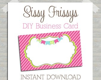 INSTANT DOWNLOAD - DIY Bunting Banner Business Card - Digital File - Blank Template - Business Card File - Earring Jewelry Card - 182098008