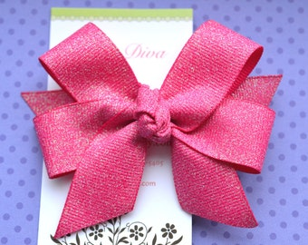 Hot Pink Fairy Dust Classic Diva Bow