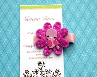Little Pink Bird.....Handstitched Felt Flower Hairclip in Fuschia