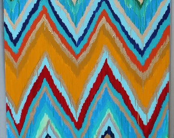 Original ikat chevron Moroccan Holiday 30x40 Painting by Jennifer Moreman