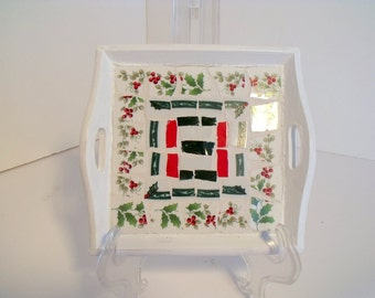 Small Mosaic Christmas Tray White Red Green