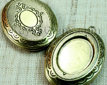 Oval Lockets Antique Brass Cameo Cabochon Frame Setting Victorian Style   -  LKOS-95AB - 2pcs