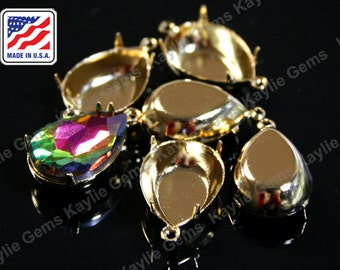 24K Pure Gold Plated 18x13 Prong Setting Tear Drop Pear Close Closed Back 1 Ring 2 Ring, Made in the USA
