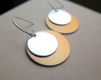 modern copper earrings in sterling silver. anodized aluminum jewelry.