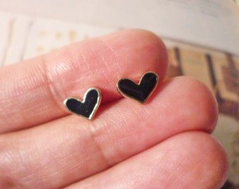 Mini Black Heart Stud Earrings