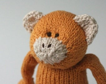 "Butternut Monkey - Organic Cotton Hand Knit Large Eco Friendly Stuffed Monkey, 13.5"" Tall"