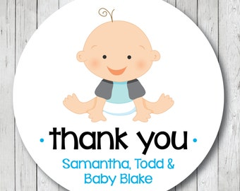 Boy Baby Shower Thank You Stickers or Tags