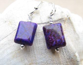 Purple Ocean Jasper Earrings, handmade by Harleypaws, SRAJD