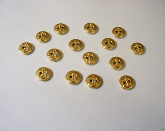 15  Metal Anchor  Buttons, Lot 2637   (Free US Shipping)