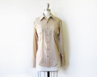 vintage pearl snap shirt, 1970s floral country western shirt, pearl snap blouse large