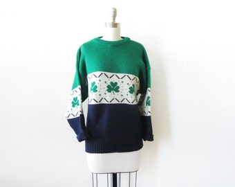 vintage shamrock sweater, st. patrick's day sweater, 1980s Irish sweater