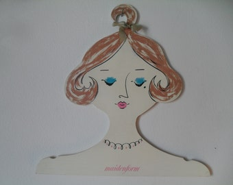 Vintage Maidenform Ladies Head Face Clothing Hanger Wooden Ad Advertising Piece 50s 60s