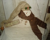 Primitive Fireplace Mantle Snowman Sitter. Snowman, Winter, Christmas, Mantle Sitter, Ofg, Faap, Hafair, BICOFG