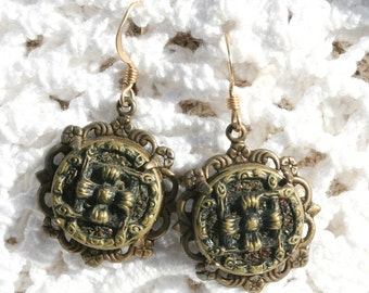 Antique Button Earrings Vintage Filigree and antique Metal Buttons