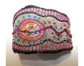 Hand Embroidered Organic Multi-Colored Cuff